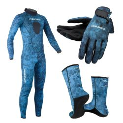 Cressi Blue Hunter Full Wetsuit Set with Gloves & Socks