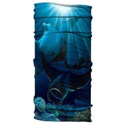 Born of Water Neck Gaiter - Midnight Manta Rays