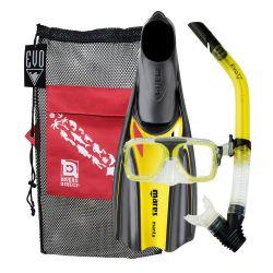 EVO Light Snorkeling Gear Set/EVO Drift Two-Lens Mask/Semi-Dry Snorkel/Mares Manta Full Foot Fins/Mesh Gear Bag