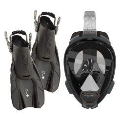 Ocean Reef Aria QR+ Snorkeling Gear Set/Aria QR+ Full Face Mask/DUO Fins