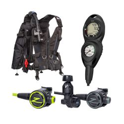 Zeagle Zena BCD Scuba Gear Package with F8 Regulator and Octopus, and Suunto Zoop Novo Console Dive Computer (Women's)