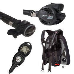 Zeagle Covert BCD Travel Scuba Gear Package with Atomic B2 Regulator, SS1 Octopus and Suunto Zoop Novo 2 Gauge Console Dive Computer (Men's)