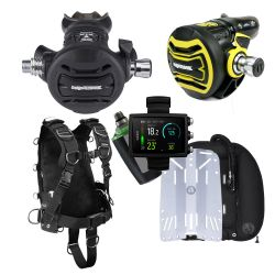 Apeks WTX Harness Tech Scuba Gear Package with Backplate, WTX D45 Twin Cylinder Wing, XTX50 Regulator and Octopus, and Suunto EON Core Wrist Dive Computer with Air Transmitter