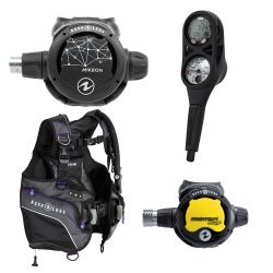 Aqua Lung Pearl BCD Scuba Gear Package with Mikron Regulator and Octopus, and i300 2 Gauge Console Dive Computer (Women's)