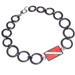 Dive Flag Bracelet with O-Ring Chain - 7