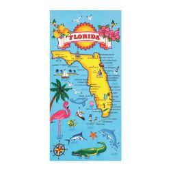 Dohler Florida Map Beach Towel - 30x60