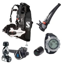 ScubaPro Hydros Pro Modular Travel Scuba Gear Package (Women's) with MK11/C370 Regulator, Air2 Inflator/Octo, M2 Wrist Computer