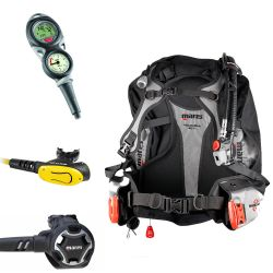 Mares Travel Scuba Gear Package: Magellan BCD, Dual 15X Reg, MV Octo, and Mission Puck 2 Computer