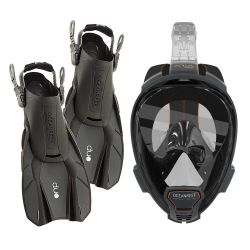 Ocean Reef Aria QR+ Snorkeling Gear Set/Aria QR+ Full Face Mask/DUO Fins