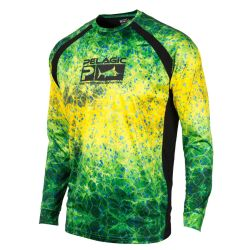Pelagic Vaportek Performance Fishing Shirt - Dorado Hexed Green