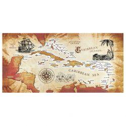 Dohler Caribbean Sea Map Cotton Velour Beach Towel