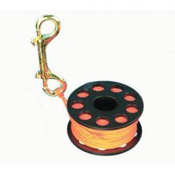 Scuba Diving Finger Reel with Brass Clip - Orange 100ft